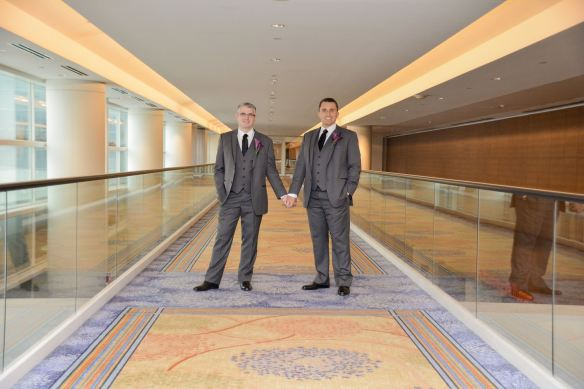 Pictured above is Dave with his husband on their wedding day!